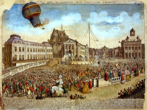 Montgolfier paper balloon flying over Paris