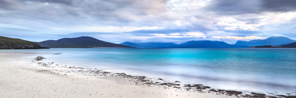 Panorama canvas print of the Isle of Harris with teal blue water and deserted beach